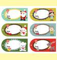 set of six holiday christmas gift tags vector image
