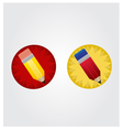 Yellow and red pencil on red and yellow star disk vector image