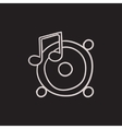 Loudspeakers with music note sketch icon vector image