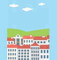 urban home and green field vector image