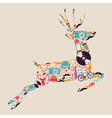 Retro hipsters icons reindeer vector image