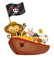 Animals on boat vector image vector image