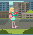 cute blonde girl with backpack walking and reading vector image