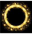 gold glow glitter circle frame with stars vector image