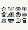 gym club fitness and workout badges vector image