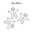 hand drawn sketch of christmas gingerbread man vector image