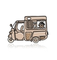 Mobile cafe with desserts sketch for your design vector image