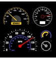 Speedometers Set on Black Background vector image