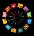 Zodiac symbols in circle on black background vector image