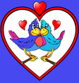 two parrots are kissed in heart vector image vector image