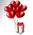 Heart balloon set with gift box vector image vector image
