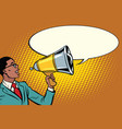 pop art black businessman with a megaphone vector image