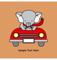 elephant in a car vector image vector image