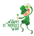 Happy Leprechaun Holding Clover and Green Beer vector image