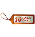A ten percent discount tag vector image