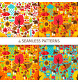 autumn season seamless patterns vector image