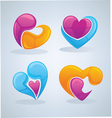 bright and glossy hearts images vector image