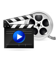 Movie clapboard and reel of film vector image
