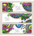 set of decorative flower template banner vector image