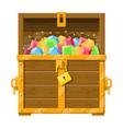 treasure chest full of various diamonds vector image