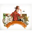 Cowboy Adventure Western retro style Game logo 3d vector image vector image