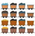 mining carts loaded with stone and gold vector image vector image