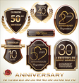 Anniversary brown label set vector image