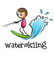A stickman waterskiing vector image vector image