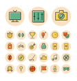 Thin line icons for leisure travel and sport vector image
