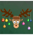 Cute Cartoon Deer with Colorful Glass Balls vector image