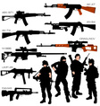 automatic weapons set vector image vector image