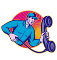telephone repairman holding phone vector image vector image