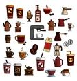 Retro sketched coffee cups and pots symbols vector image vector image