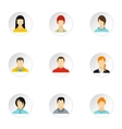 Avatar of different people icons set flat style vector image