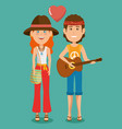 hippie people cartoon vector image