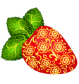 The bright red strawberries decorated with gold fl vector image