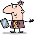 Man with tablet pc cartoon Vector Image