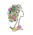Female profile with floral hairstyle for your vector image