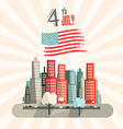 4 th July Retro with American Flag and City vector image vector image