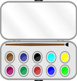 Set of paints with brush in box vector image