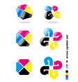 cmyk arrow symbol set vector image vector image