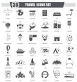 Travel black icon set Dark grey classic vector image vector image