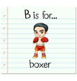 Flashcard letter B is for boxer vector image