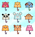 Cute umbrella characters vector image