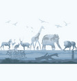 double exposure wild animals with nature vector image