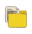 drawing yellow folder file document report paper vector image