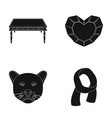 Furniture animal and other web icon in black vector image