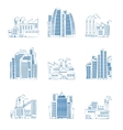 Hand drawn skyscrapers and industrial buildings vector image