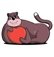 love heart-hugging cat vector image