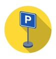 Parking sign icon in flat style isolated on white vector image